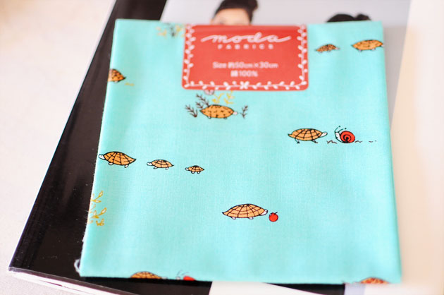 japanese quilt cotton, turtle and snale print