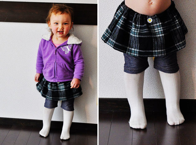 plaid wool skirt for little girl