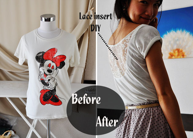 lace insert tshirt diy before and after