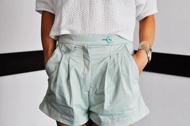 mint shorts front close up