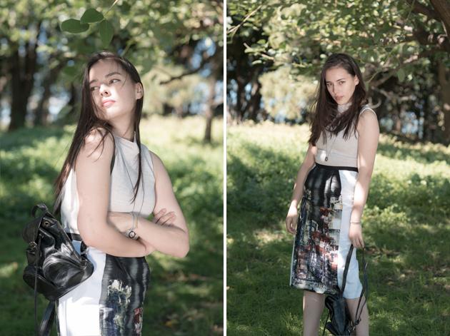 Sleeveless High Neck Knit and Kawasaki Factory City Pencil Skirt