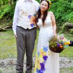 vivat veritas bride and groom silk painting
