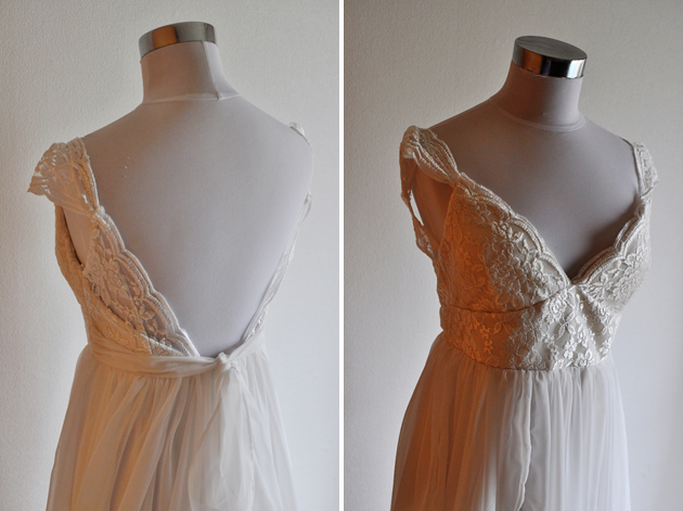beachy wedding dress front and back close up