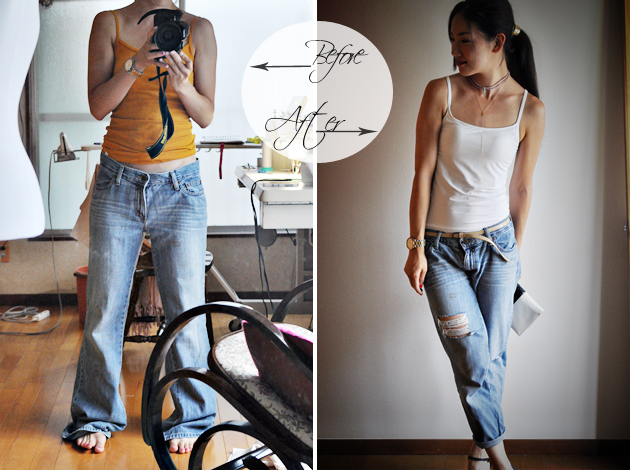Before and After of DIY Distressed Denim by Vivat Veritas