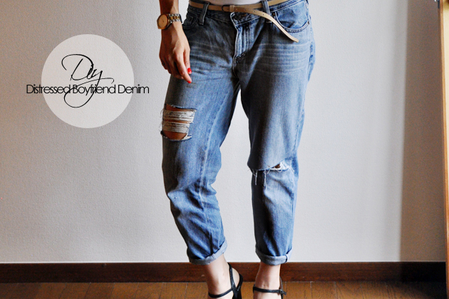 DIY Distressed Denim from Thrifted Jeans | Vivat Veritas Diy Distressed Boyfriend Jeans