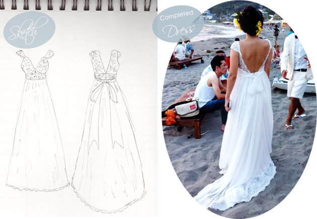 mie wedding dress sketch and completed dress