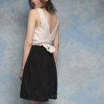 Open Back Gold Sequined Party Dress with Bow VIVATVERITAS1