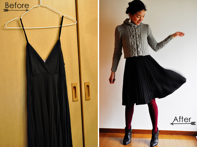 Before and After of Dress to Pleated Skirt DIY Vivat Veritas