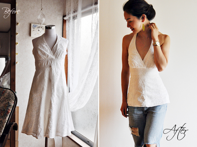 Before and After of White Halter Top DIY (via vivatveritas