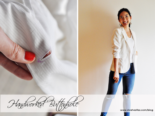Handworked Buttonhole on Jacket via vivatveritas