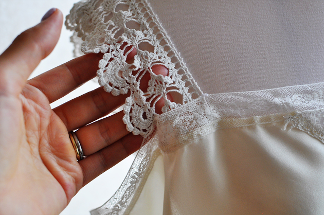 Antique lace and silk
