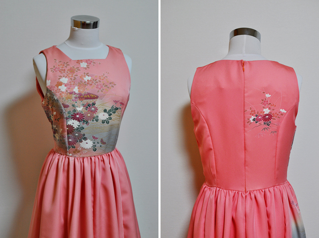 pink kimono upcycled dress via Vivat Veritas
