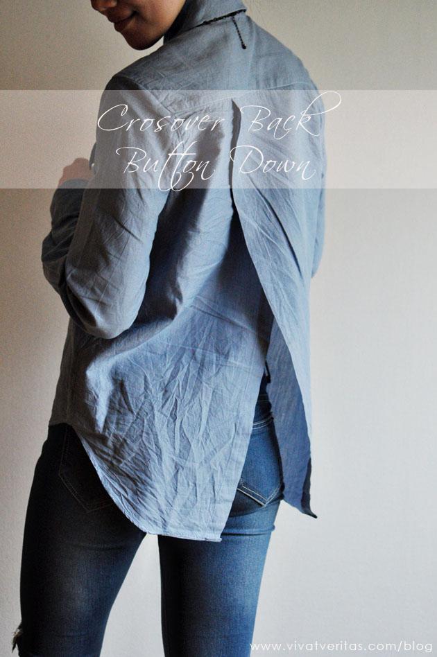 DIY crossover back chambray shirt