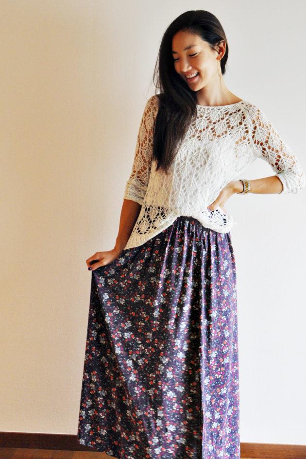 Maxi dress to skirt DIY