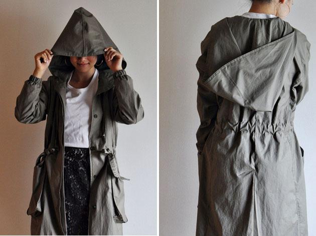 Khaki parka with big hoodie