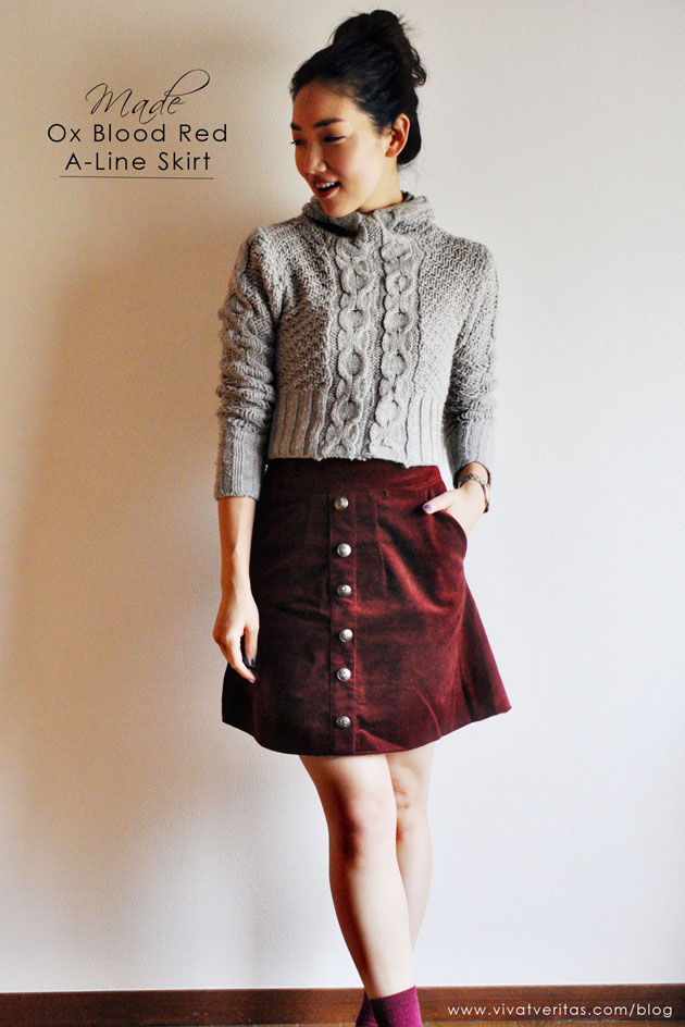 Ox blood red A-line skirt by Vivat Veritas