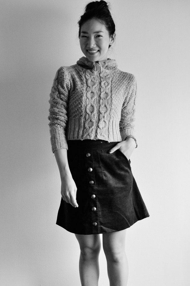 handmade dark red A-line skirt by Vivat Veritas