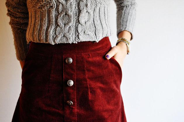ox blood red handmade skirt