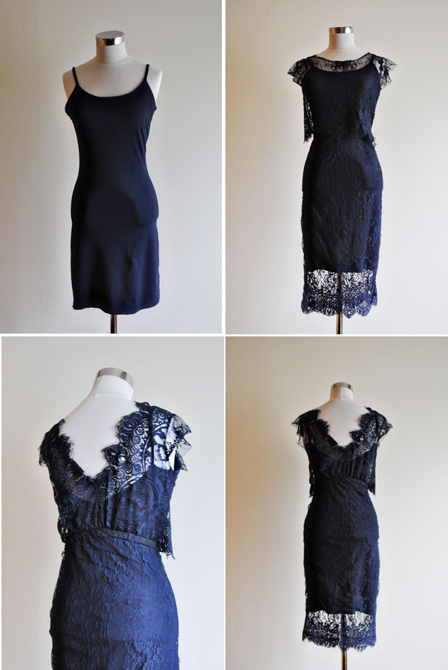 DIYed blue lace dress for wedding