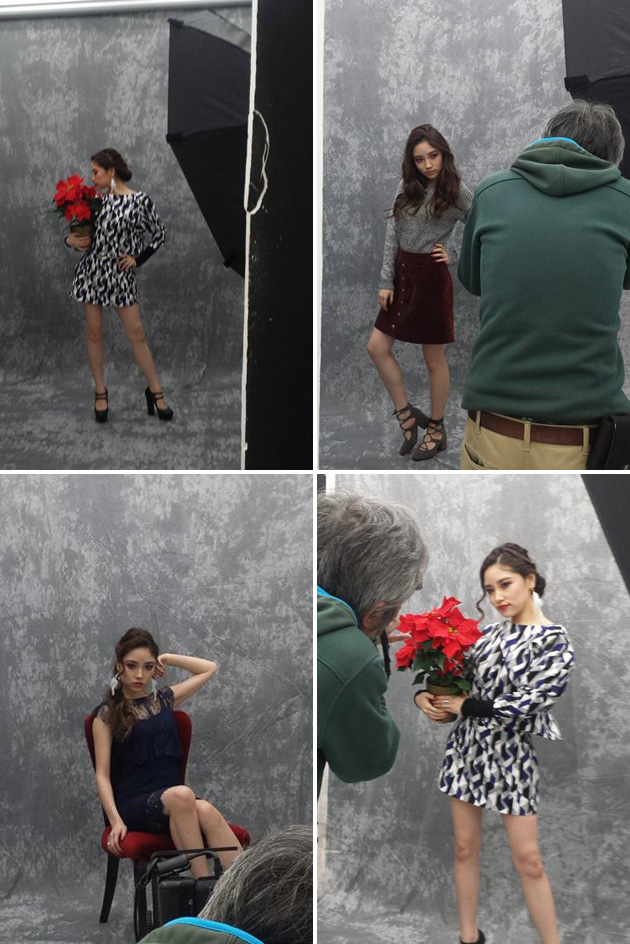 Holiday themed fashion shoot behind the scenes