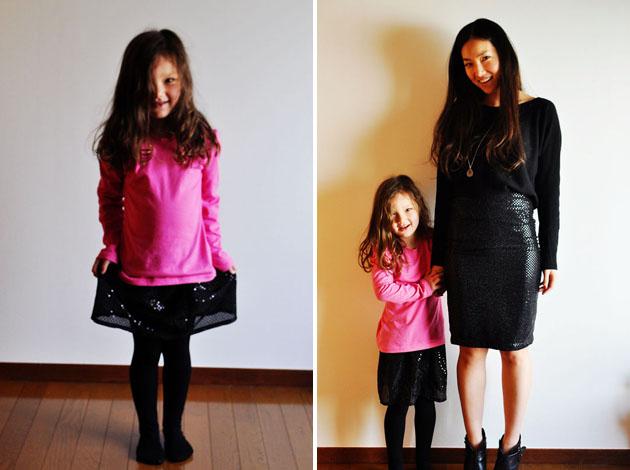 Mother daughter matching black sequin skirt