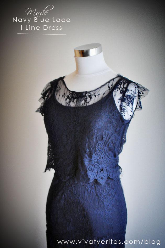 Navy blue lace dress for wedding via Vivat Veritas Blog