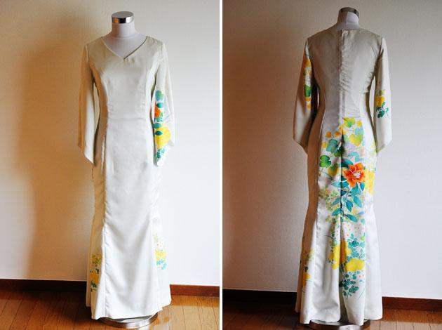 cream mermaid kimono dress