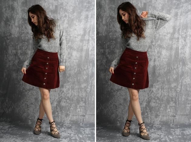 dark red corduroy skirt by vivat veritas2