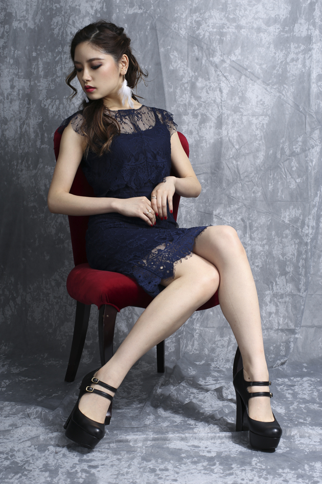navy blue lace scalloped edte dress front full body1