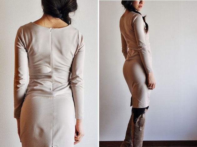 back style - beige wrap dress