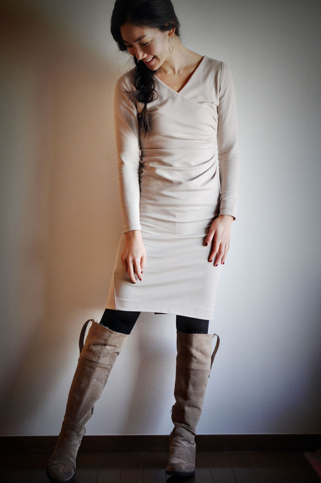 beige dress full body