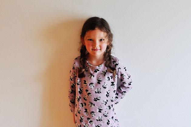 simple knit dress in panda fabric