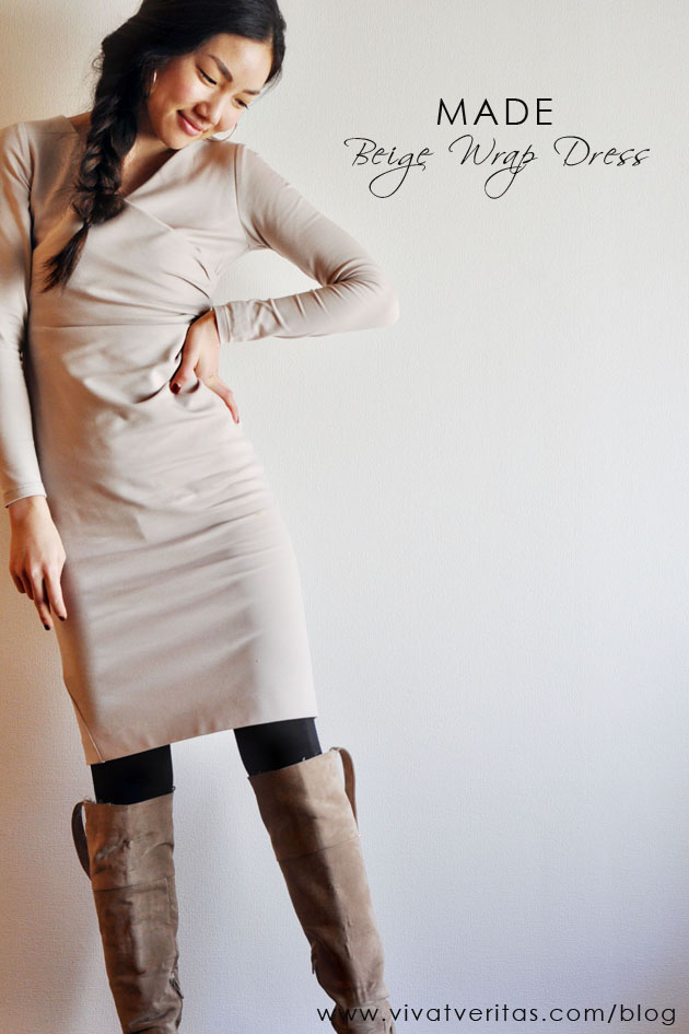 what i made - beige wrap dress