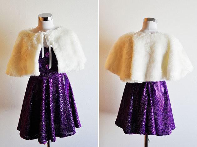 white fur cape and sparkly romper