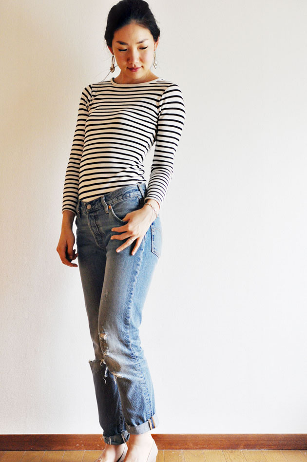 stripes body suit and levis 501 jeans1