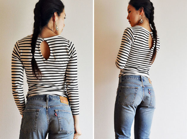 stripes body suit and levis 501 jeans2