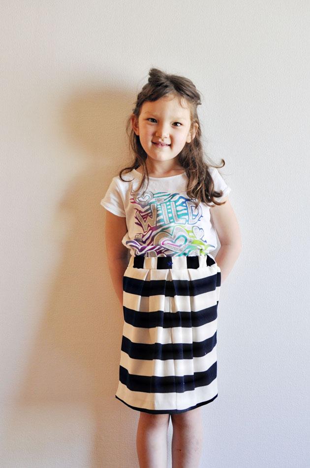 little girls stripes skirt handmade by mommy