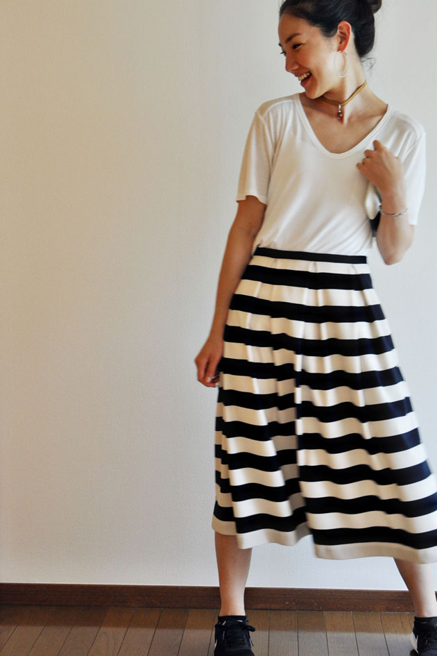 navy and white thick stripes skirt