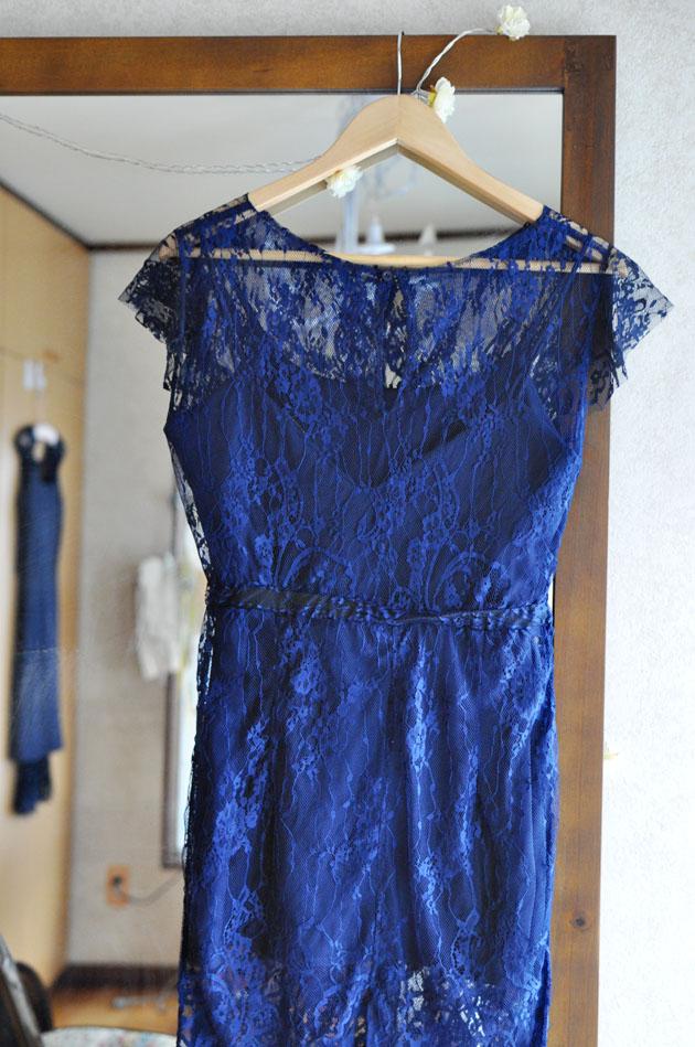 navy blue lace dress with key hole back