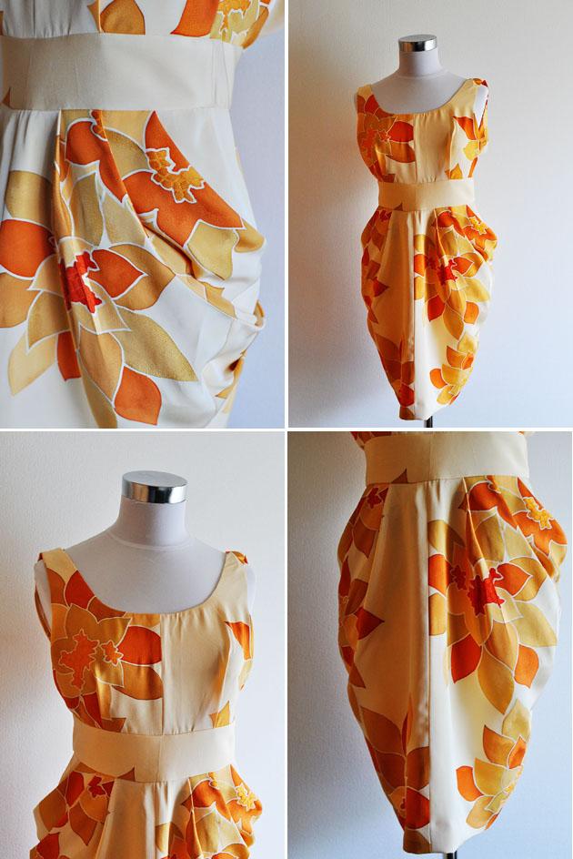 orange kimono dress