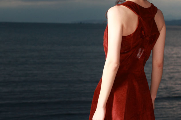 red corduroy dress by vivat veritas back view