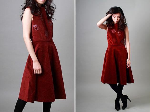 red corduroy dress by vivat veritas