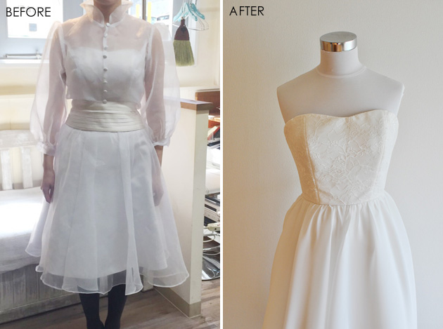 before and after of color change wedding dress