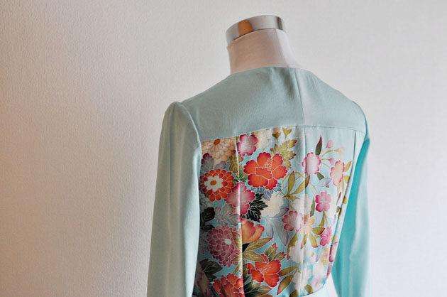 back view of emerald green kimono wrap dress
