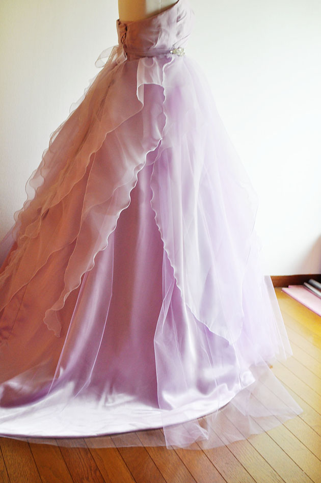 back view of the lavender wedding dress