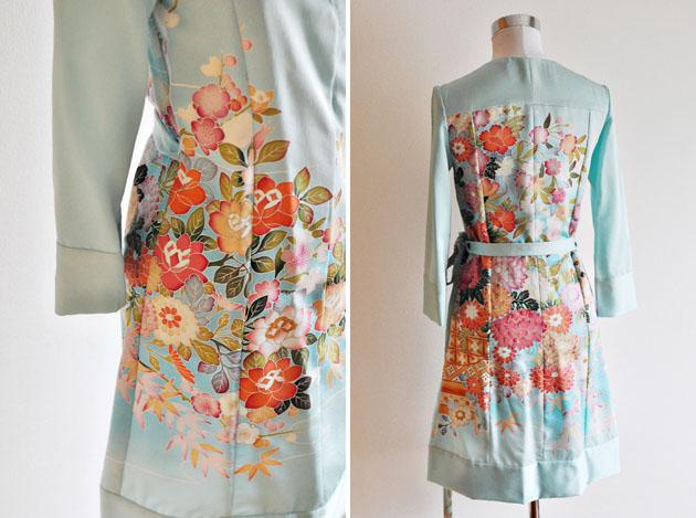 emerald green kimono dress details