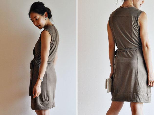 khaki color wrap dress with big pockets
