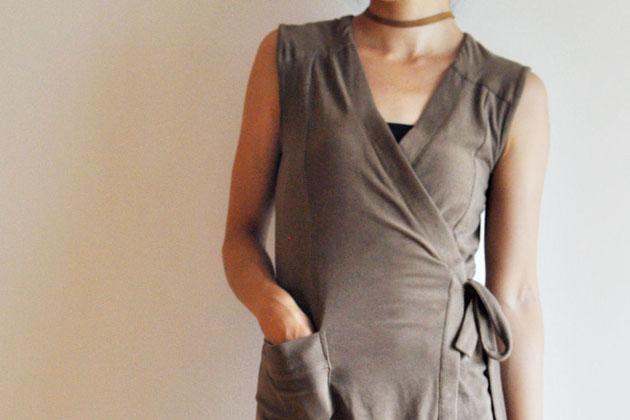 khaki wrap dress details