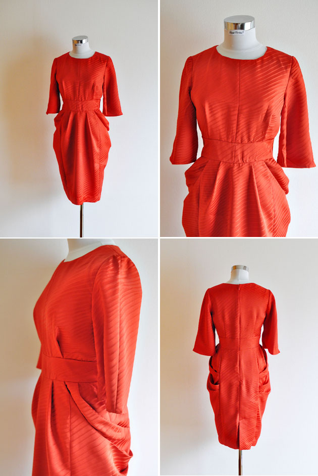 red cropped sleeve dress in kimono fabric