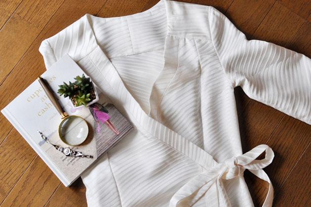 white kimono dress flatlay